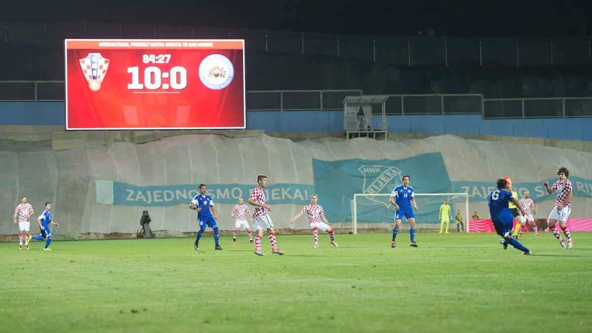 क्रोएसियाले सान मारिनोलाई १०–० गोल अन्तरले हरायो