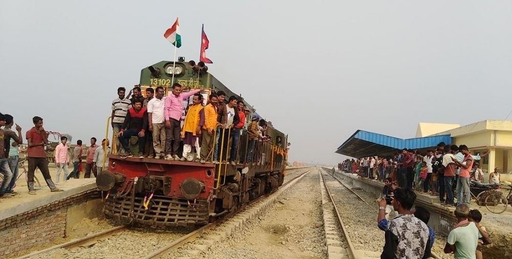 नेपाली झन्डा फहराउँदै जनकपुर आउँदै भारतीय रेल