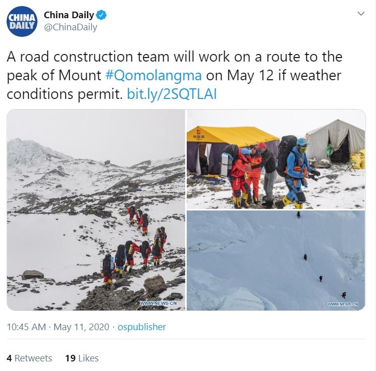 सगरमाथाको चुचुरोमा पुग्न तिब्बततर्फबाट बाटो बनाउदै चीन