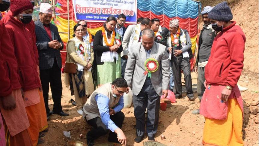 काठमाडौंको दक्षिणकालीस्थित चम्पादेवी माध्यमिक विद्यालयको पुनर्निर्माण सुरु