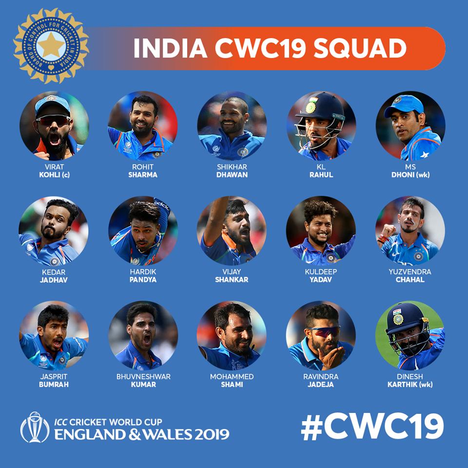 कोहलीको कप्तानीमा बिश्वकप खेल्ने १५ सदस्यीय भारतीय टोलीको घोषणा