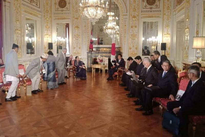 राष्ट्रपति भण्डारी र जापानका प्रधानमन्त्री आबेबीच भेटवार्ता