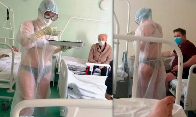 विकिनीमा आएकी नर्सले काेराेनाका विरामीलाई उपचार गर्न थालेपछि