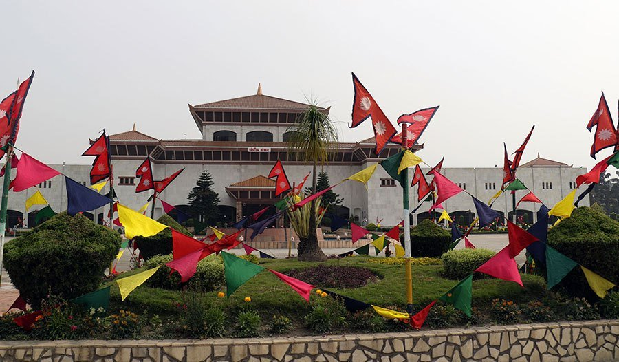 नीति तथा कार्यक्रमका लागि सजाइएको संसद भवन