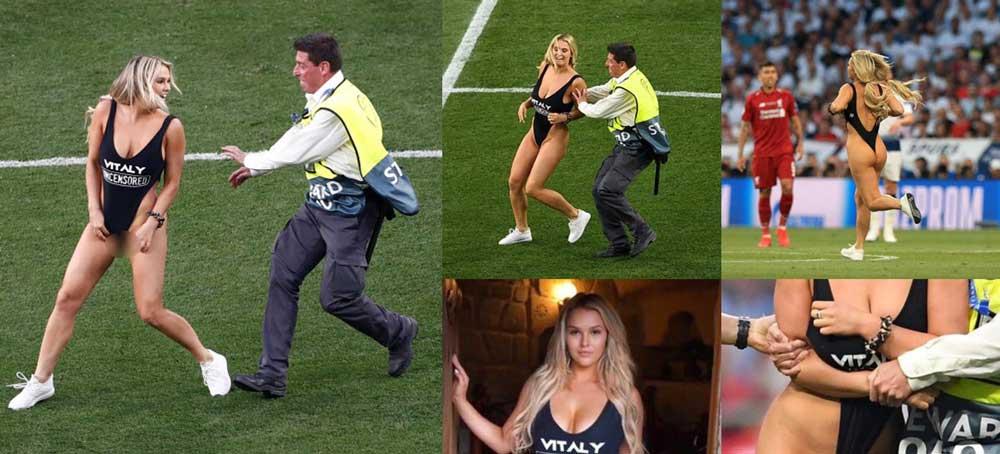 जब च्याम्पियन्स लिगको फाइनल चलिरहँदा एक महिला कपडा फाल्दै मैदान प्रवेश गरिन्... भिडियो