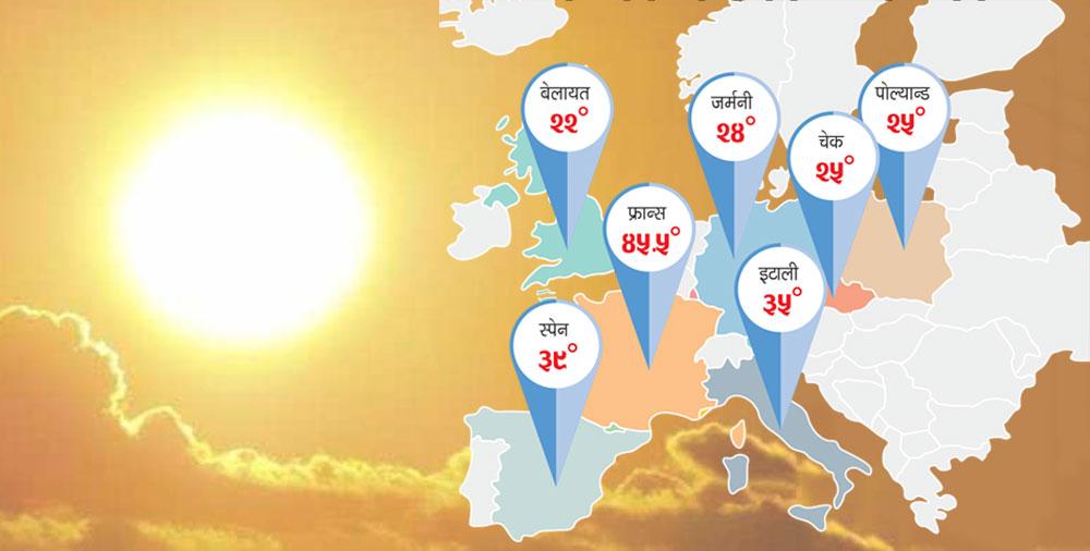 युरोपमा अचाक्ली गर्मी, फ्रान्समा मात्रै तीनको मृत्यु