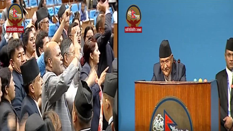 संसदमा प्रतिपक्षीको अवरोध, प्रधानमन्त्री रोष्ट्रममा उभिएर हेरेको हेर्यै