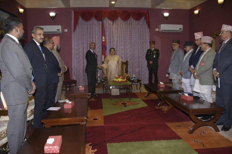 राष्ट्रपति भण्डारसँग भारतीय विदेशमन्त्रीको शिष्टाचार भेट