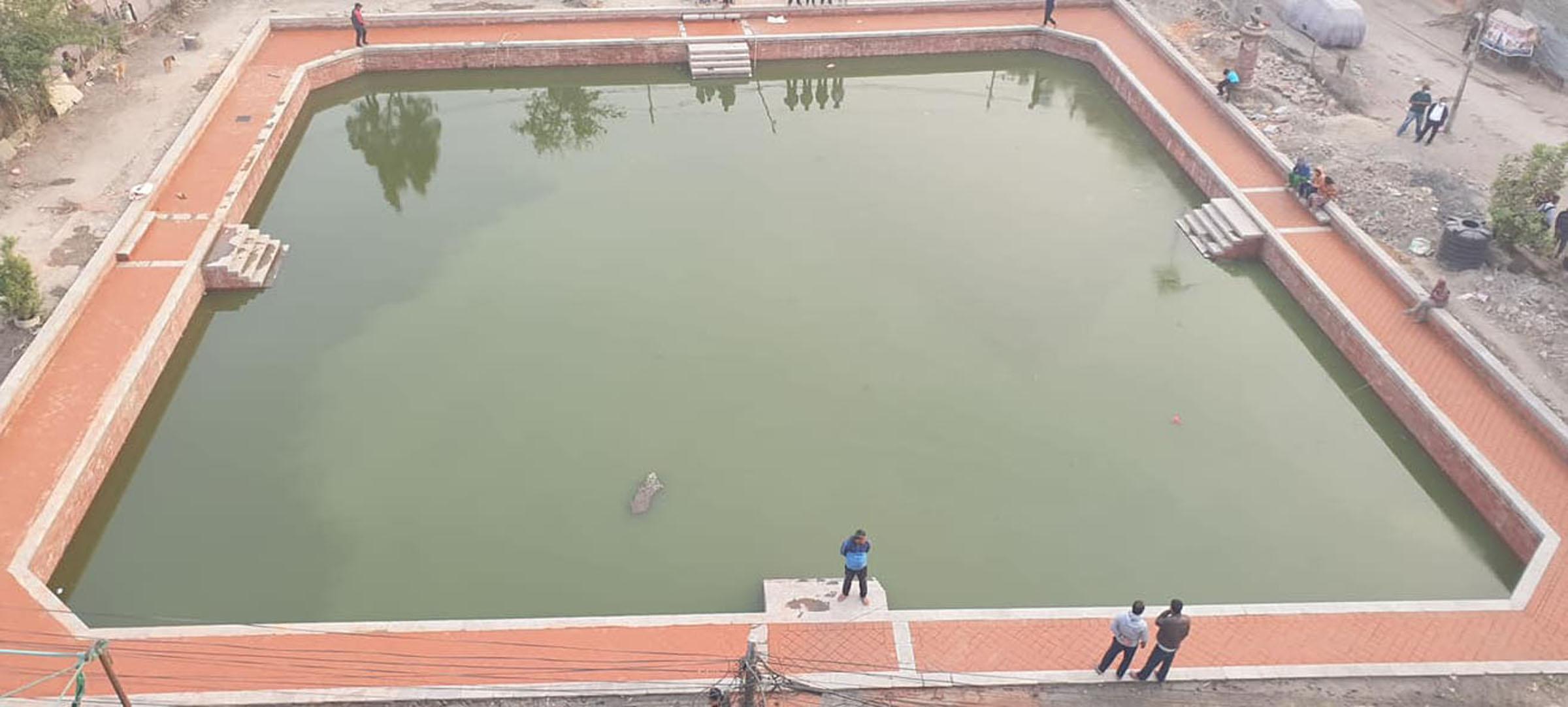 तीन सय वर्ष पुरानो 'निगु पुखुः' को पुनःनिर्माणसँगै ६३ वर्षपछि भरियो बिस्केटका लागि पानी
